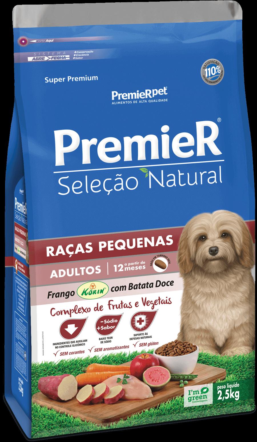 Ração Premier Seleção Natural Cães Adultos Raças Pequenas Frango Korin e batata doce