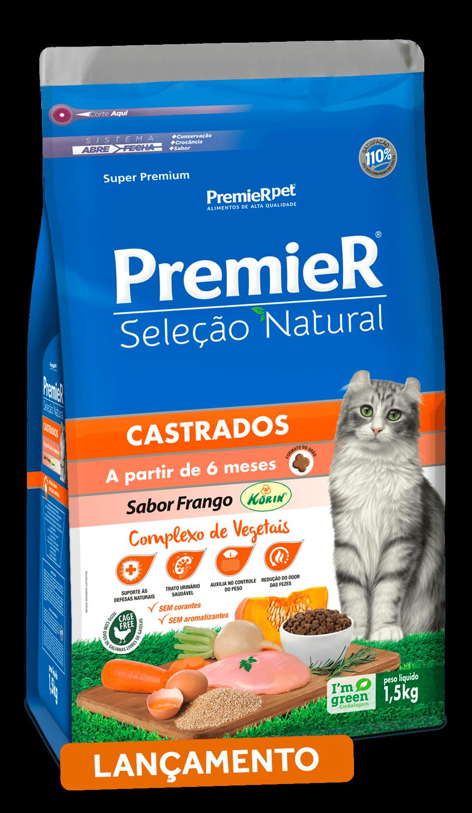 Ração Premier Seleção Natural Gatos Castrados Frango - 7,5 kg