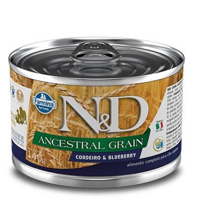Ração Úmida em lata - Farmina N&D Ancestral Grain Cordeiro e Blueberry para cães adultos - 140g
