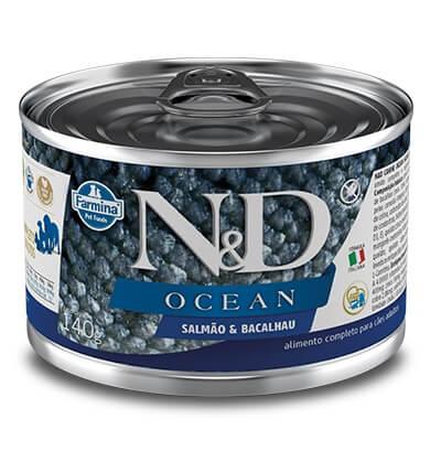 Ração Úmida em lata - Farmina N&D Ocean - Salmão e Bacachau para cães adultos - 140g
