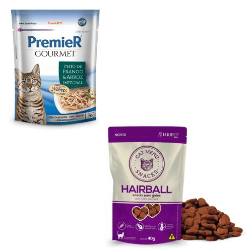 Sachê Premier Gourmet Gatos Frango 70g  + Luopet Cat Menu Hairball 40g