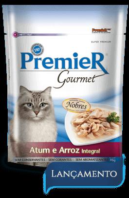 Sachê Premier Gourmet Gatos Sabor Atum e Arroz Integral - 70 gramas