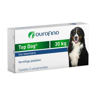 Vermifugo Ouro Fino Top Dog para Cães de até 30 Kg - Cx. c/ 2 Comprimidos