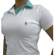 feminino camisa polo camisa polo feminina branca lisa bordado verde ... aaa9f72fb5217