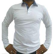 4e6500e13300f Camisa Polo Masculina Manga Longa Branca Detalhe Azul Listado