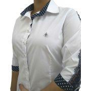 a5498f1d35 Camisa Social Feminina Tradicional 3 4 Branca Detalhe Azul Poá e Renda  Algodão Egípcio
