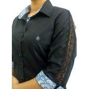 a016fdd19f Camisa Social Feminina Tradicional 3 4 Preta Detalhe Azul e Renda Algodão  Egípcio