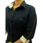 8dff5bf5d8 Camisa Social Feminina Tradicional 3 4 Preta Detalhe Bege e Renda Algodão  Egípcio