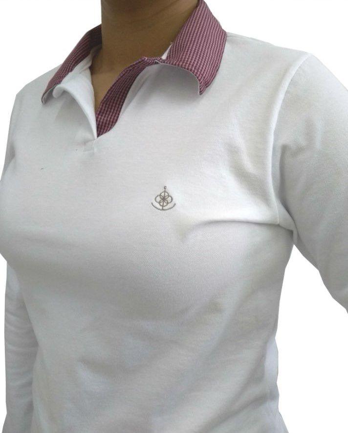1a97026daf Camisa Polo Feminina Manga Longa Branca Detalhe Vermelho Xadrez