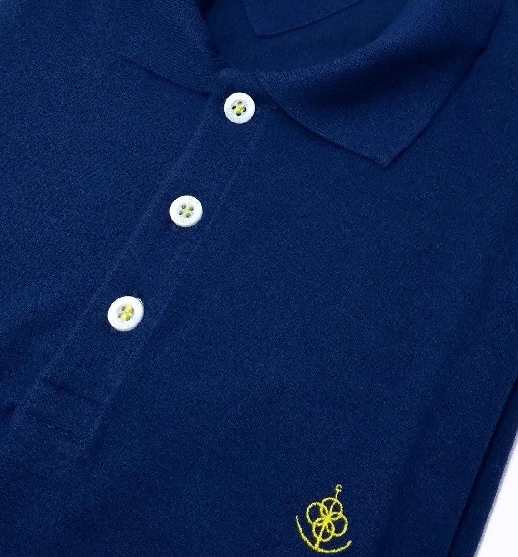 5732f8fcb95d5 ... Camisa Polo Masculina Azul Detalhe Geométrico c  Amarelo - Fiopoá  Camisaria