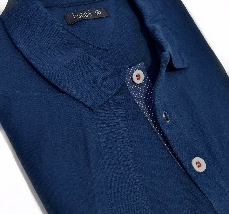 346a6cb80427c Camisa Polo Masculina Azul Detalhe Poá