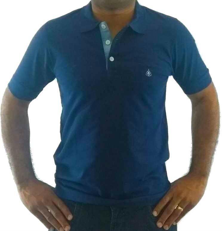 9e3c4d7e6093f Camisa Polo Masculina Azul Detalhe Xadrez