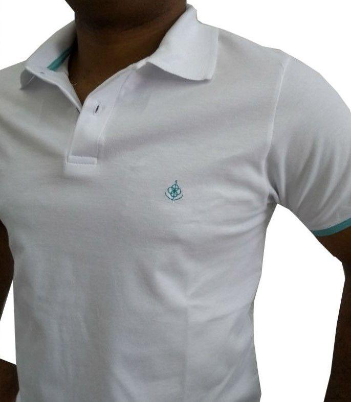 Camisa Polo Masculina Branca Com Barra Dupla Verde Tifani. Image  description · Image description ... 8bc18890dbb5f
