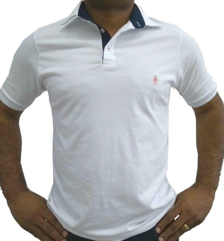 e084e83f78 Camisa Polo Masculina Branca Detalhe Azul Poá - Fiopoá Camisaria ...
