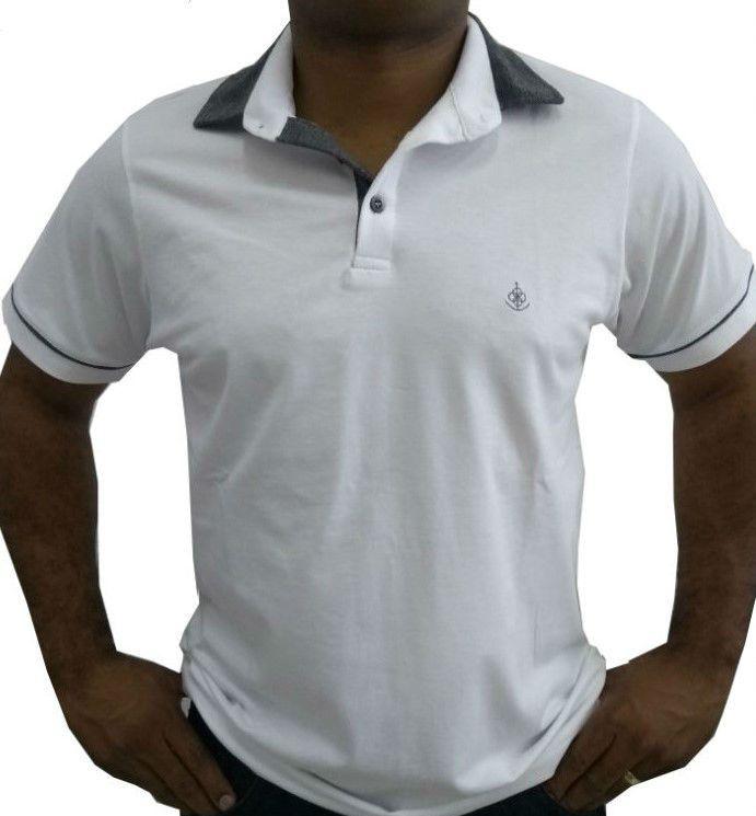 Camisa Polo Masculina Branca Detalhe Cinza Com Filete 07a5f16a23e28