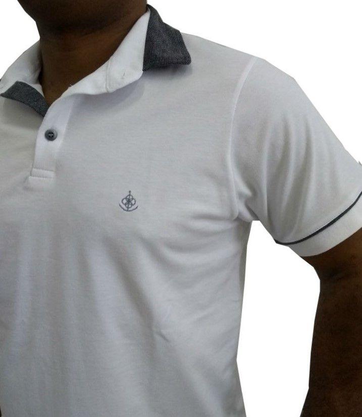 Camisa Polo Masculina Branca Detalhe Cinza Com Filete. Image description ·  Image description · Image description 2d5ac992784e2