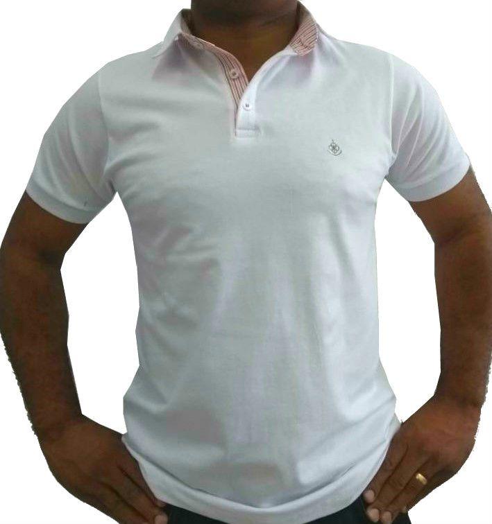 Camisa Polo Masculina Branca Detalhe Listado Rosa 9b80e61aad189