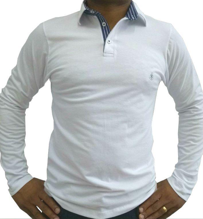 110bfb08f Camisa Polo Masculina Manga Longa Branca Detalhe Azul Listado - Fiopoá  Camisaria ...
