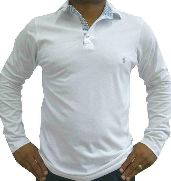 01253a729a Camisa Polo Masculina manga Longa Branca Detalhe Listado Azul