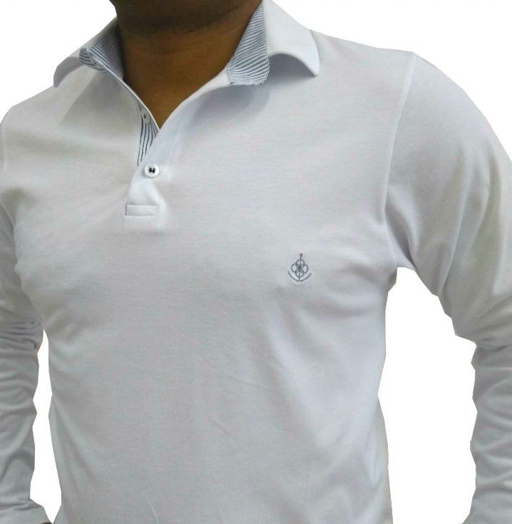 6b4e61e9efaa4 Camisa Polo Masculina manga Longa Branca Detalhe Listado Azul