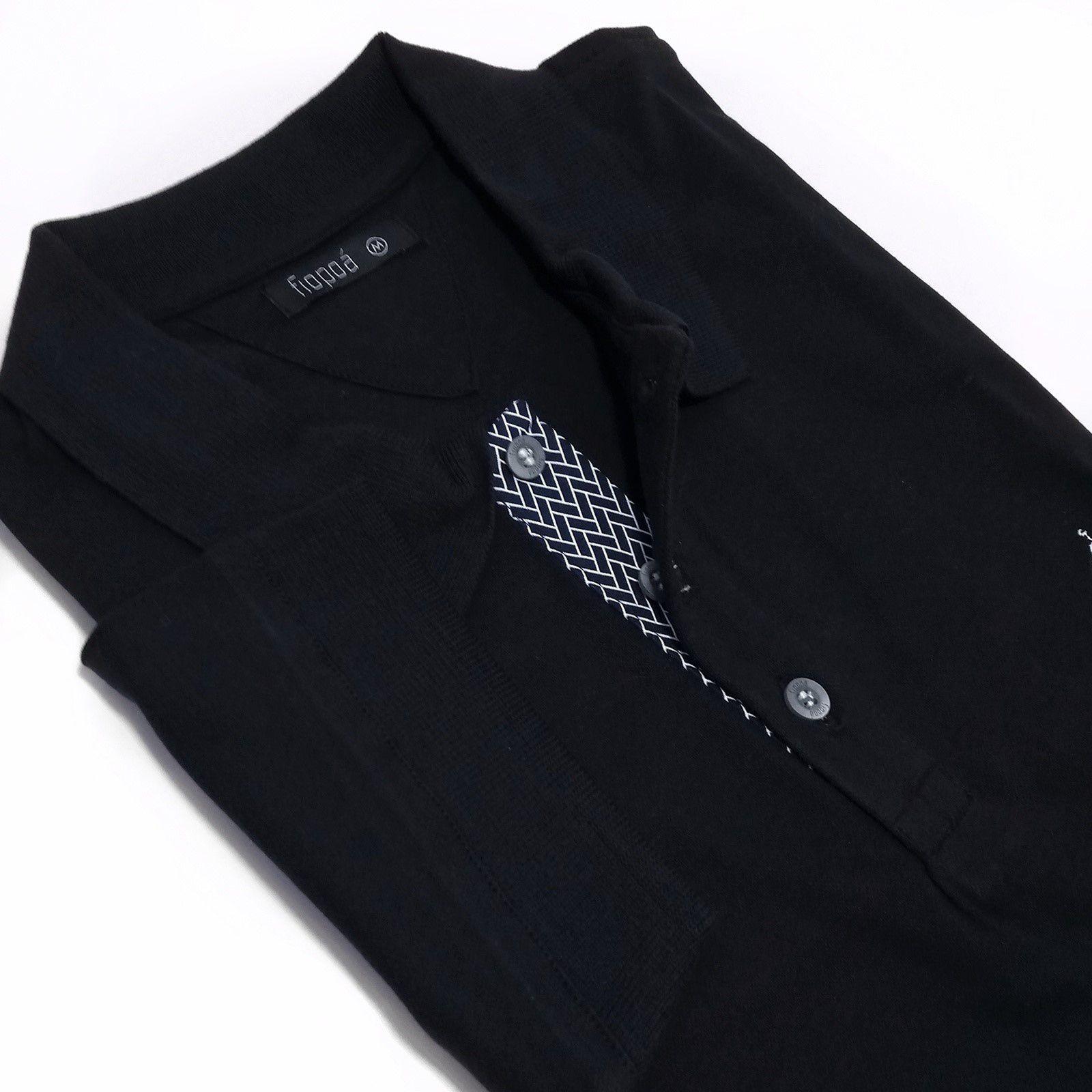 b9ac640f0a Camisa Polo Masculina Preta Detalhe Geométrico