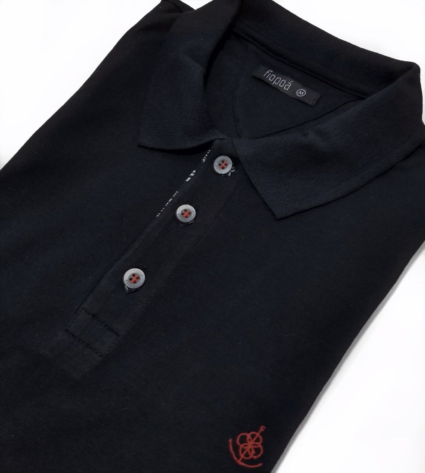 c280dd7bbf Camisa Polo Masculina Preta Detalhe Musica. Image description · Image  description · Image description · Image description