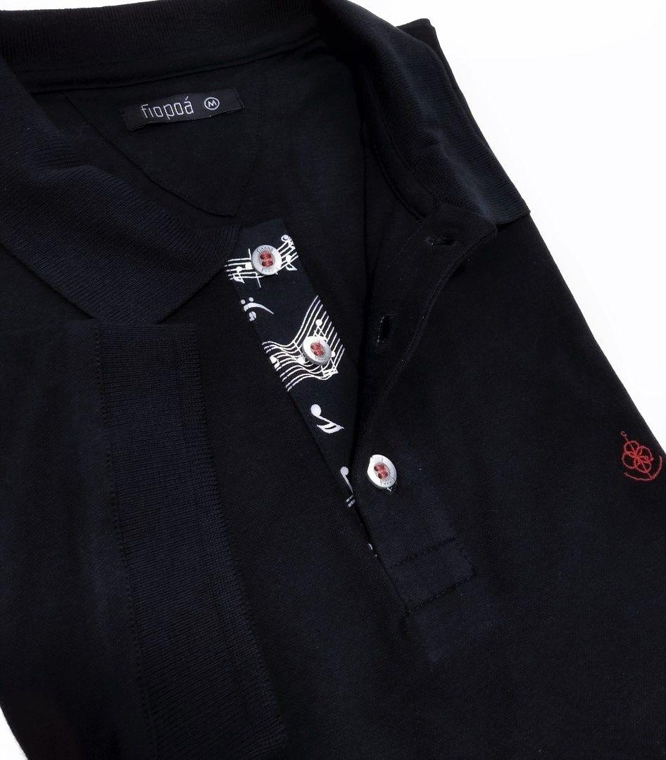 53309badbf Camisa Polo Masculina Preta Detalhe Musica. Image description · Image  description ...