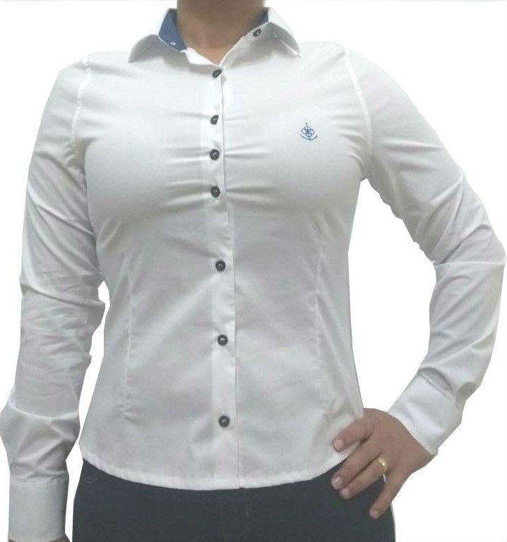 Camisa Social Feminina Slim Branca Detalhe Azul Algodão Egípcio 569a70c8cd0a0