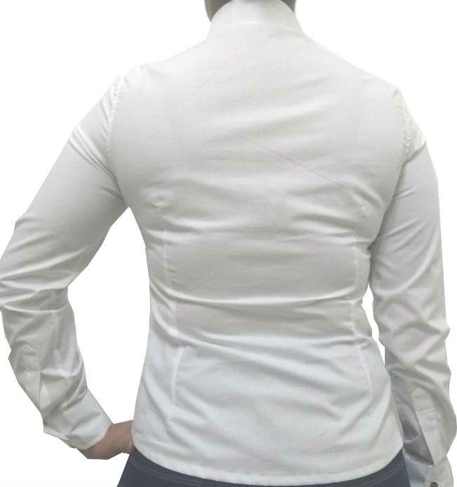 5abcf57c4594e Camisa Social Feminina Slim Branca Detalhe Azul Algodão Egípcio
