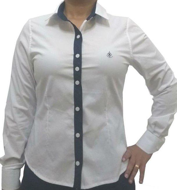 ... Camisa Social Feminina Slim Branca Detalhe Poá Algodão Egípcio - Fiopoá  Camisaria ... 1c61a75c33c9d