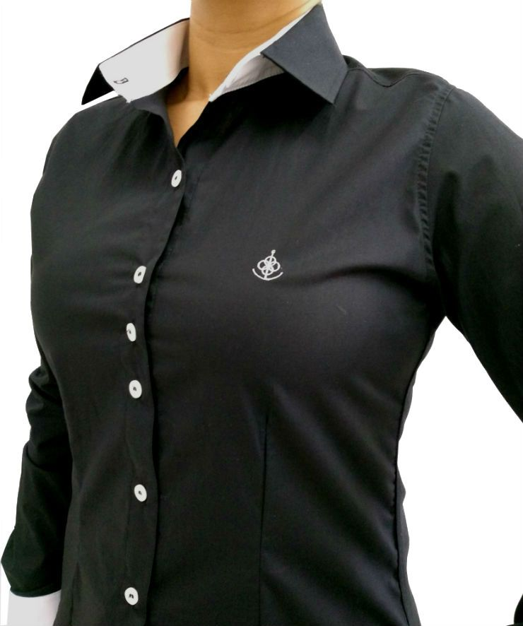 09122680ec Camisa Social Feminina Slim Preta Detalhe Branco Algodão Egípcio