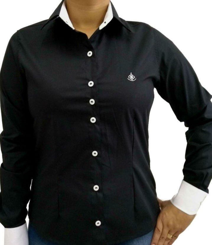 Camisa Social Feminina Slim Preta Detalhe Branco Algodão Egípcio. Image  description · Image description ... ed3a7e1b4dbb3