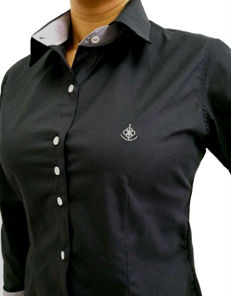 Camisa Social Feminina Slim Preta Detalhe Cinza Algodão Egípcio 016f0b590914e