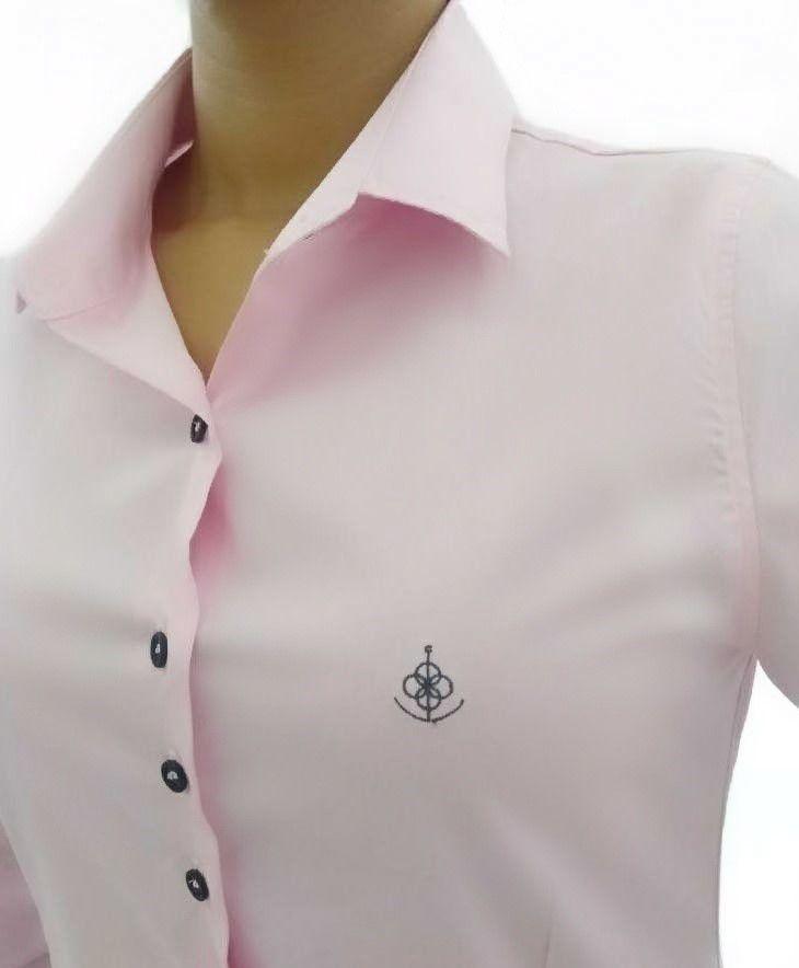 5562a8fed9 Camisa Social Feminina Slim Rosa Algodão Egípcio. Image description · Image  description ...