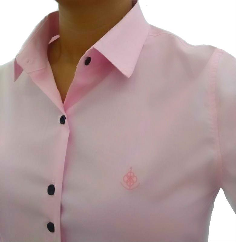 0febdb320f Camisa Social Feminina Slim Rosa Algodão Egípcio
