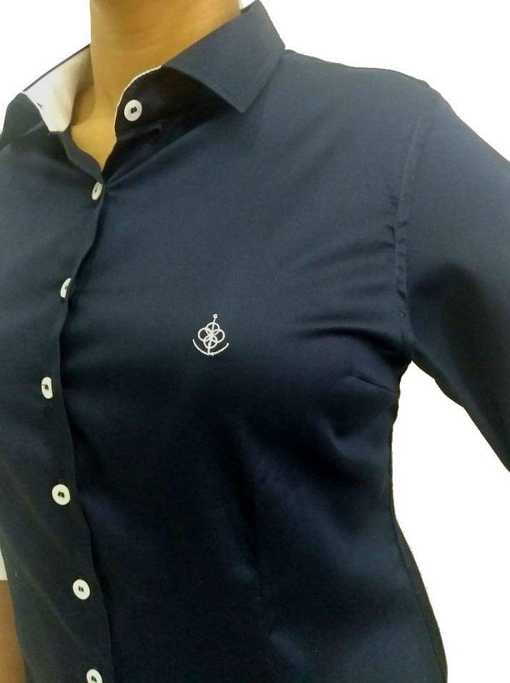 Camisa Social Feminina Tradicional 3 4 Azul Acetinado Detalhe Branco  Algodão Egípcio - Fiopoá Camisaria ... d7b5f8dba14a1