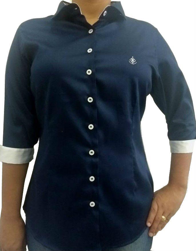 1fe516ea2eb87 Camisa Social Feminina Tradicional 3 4 Azul Acetinado Detalhe Branco  Algodão Egípcio