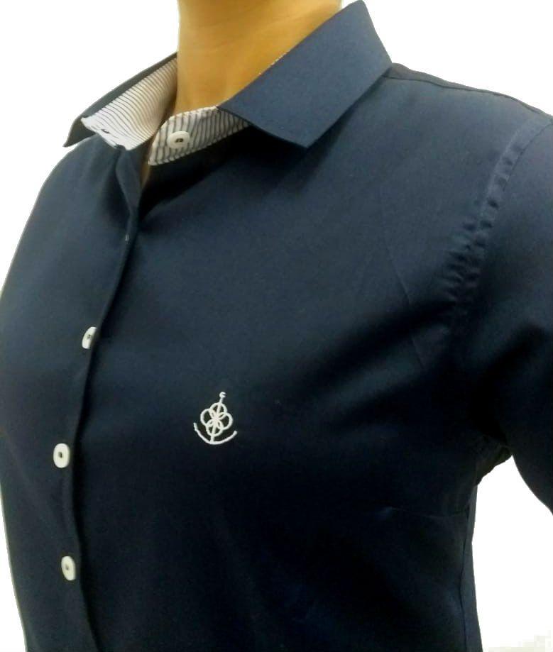 Camisa Social Feminina Tradicional 3 4 Azul Acetinado Detalhe Listado Algodão  Egípcio - Fiopoá Camisaria ... 8017e5b1ab51d