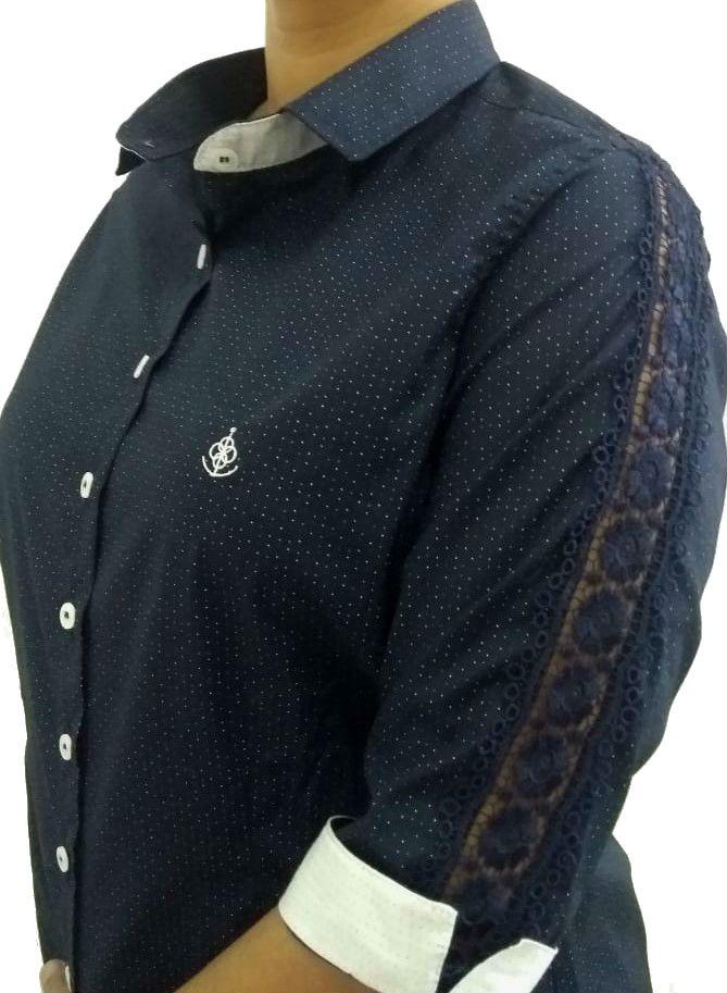 Camisa Social Feminina Tradicional 3 4 Azul Poá Detalhe Branco e Renda Algodão  Egípcio ... 3c64eb270a215
