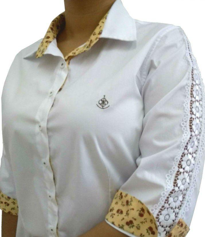 a91e58559 Camisa Social Feminina Tradicional 3 4 Branca Detalhe Bege e Renda Algodão  Egípcio
