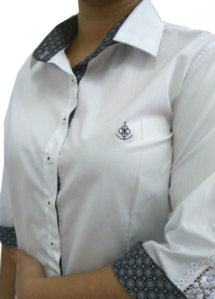 Camisa Social Feminina Tradicional 3 4 Branca Detalhe Preto e Renda Algodão  Egípcio a676db0e66e0b
