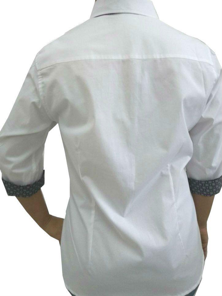 9b7a9252f6 Camisa Social Feminina Tradicional 3 4 Branca Detalhe Preto e Renda Algodão  Egípcio