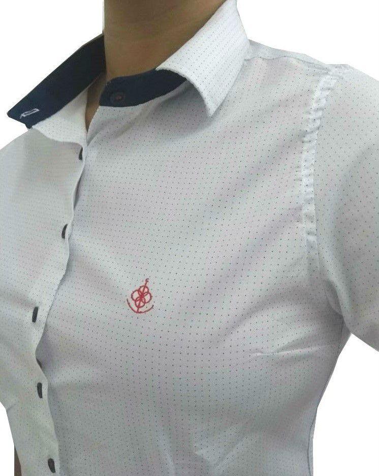 b8c09c4bc7 Camisa Social Feminina Tradicional 3 4 Branco Poá Detalhe Azul Bordado  Vermelho Algodão Egípcio ...