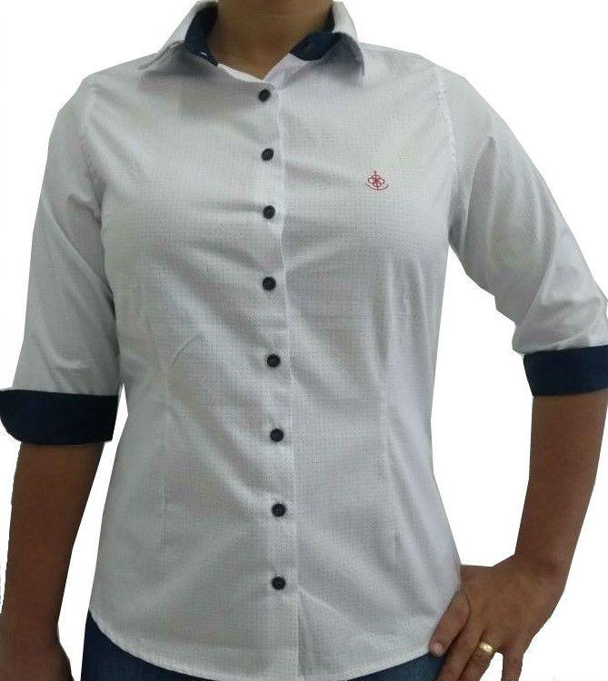 ... Camisa Social Feminina Tradicional 3 4 Branco Poá Detalhe Azul Bordado  Vermelho Algodão Egípcio ... 9c8a2209ba200