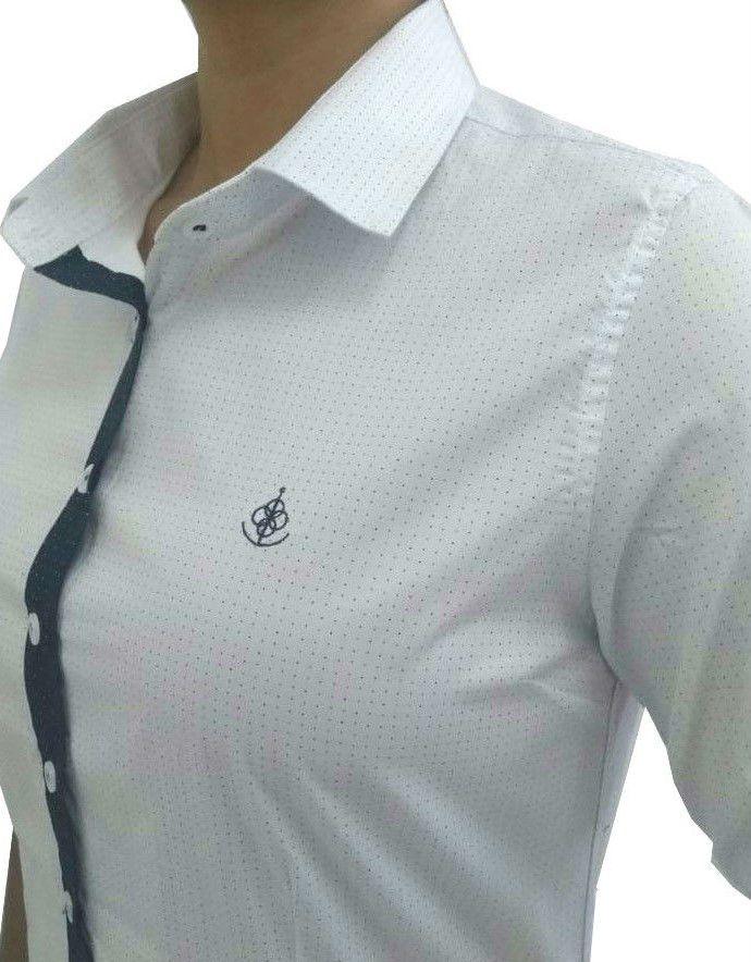 Camisa Social Feminina Tradicional 3 4 Branco Poá Detalhe Azul Poá Algodão  Egípcio - Fiopoá ... 9f250e4c46118