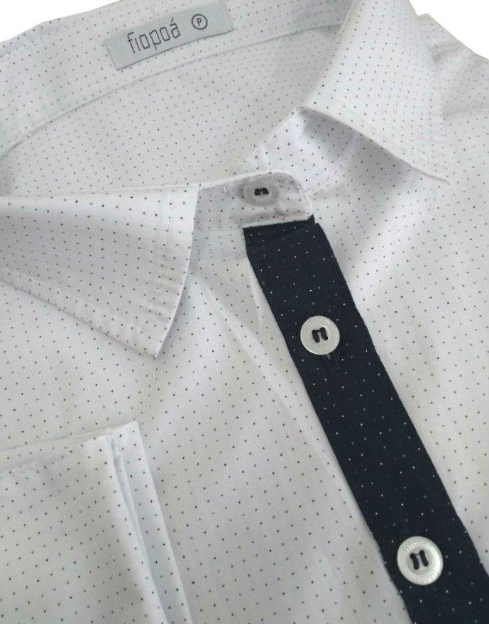 ... Camisa Social Feminina Tradicional 3 4 Branco Poá Detalhe Azul Poá Algodão  Egípcio - Fiopoá ... e764d6b43d478