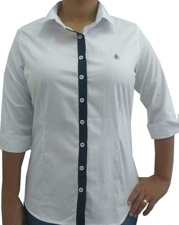 0bf6e59f93adf ... Camisa Social Feminina Tradicional 3 4 Branco Poá Detalhe Azul Poá  Algodão Egípcio - Fiopoá ...
