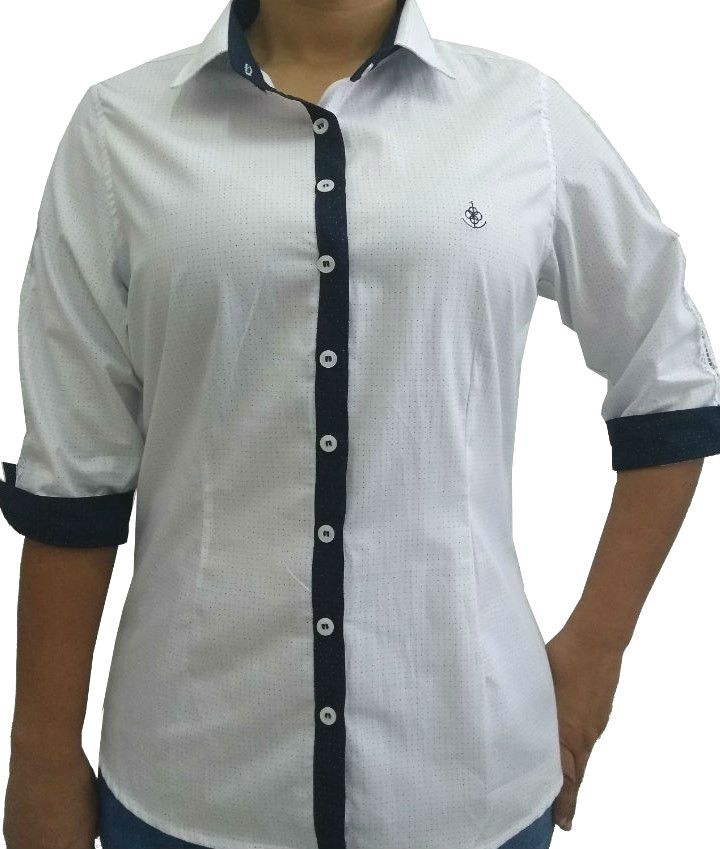 b8a19b6ff7 ... Camisa Social Feminina Tradicional 3 4 Branco Poá Detalhe Azul Vertical  e Renda Algodão Egípcio ...