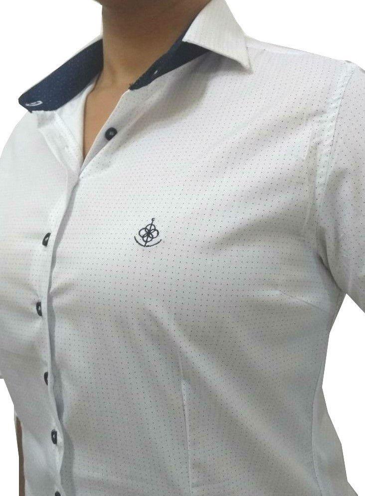 Camisa Social Feminina Tradicional 3 4 Branco Poá Detalhe Azul Algodão  Egípcio - Fiopoá Camisaria ... 534b7fe0b7039