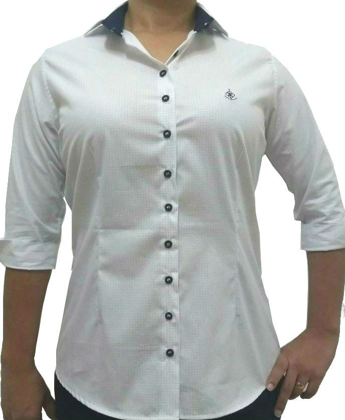 a64c43a825 ... Camisa Social Feminina Tradicional 3 4 Branco Poá Detalhe Azul Algodão  Egípcio - Fiopoá Camisaria ...